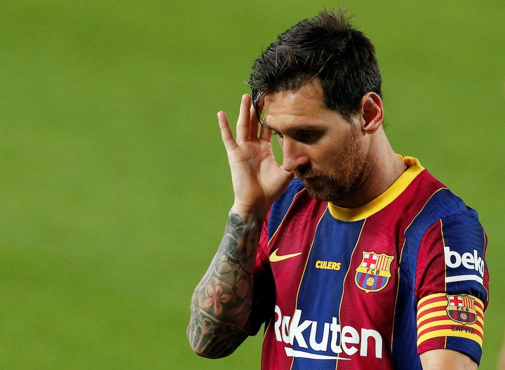 Soccer Football - Pre Season Friendly - FC Barcelona v Elche - Camp Nou, Barcelona, Spain - September 19, 2020. Barcelona's Lionel Messi reacts. REUTERS/Albert Gea     TPX IMAGES OF THE DAY