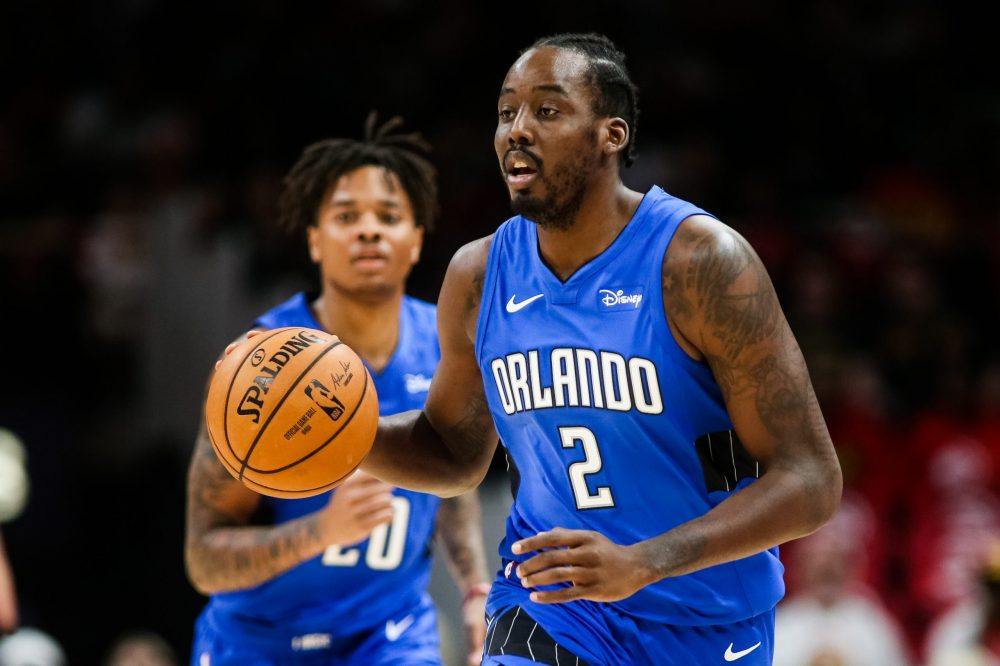 ATLANTA, GA - OCTOBER 26: Al-Farouq Aminu #2 of the Orlando Magic dribbles the ball during a game against the Atlanta Hawks at State Farm Arena on October 26, 2019 in Atlanta, Georgia. NOTE TO USER: User expressly acknowledges and agrees that, by downloading and or using this photograph, User is consenting to the terms and conditions of the Getty Images License Agreement. (Photo by Carmen Mandato/Getty Images)