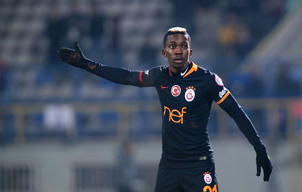 BOLU, TURKEY - JANUARY 22 :   Henry Onyekuru of Galatasaray in action during Ziraat Turkish Cup round of 16 second leg match between Boluspor and Galatasaray at Ataturk Stadium in Bolu, Turkey on January 22, 2019. (Photo by Omer Urer/Anadolu Agency/Getty Images)
