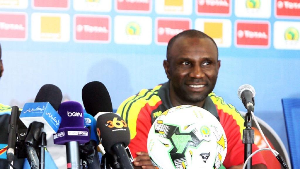Le coach de la RDC lors d'une conférence de presse.