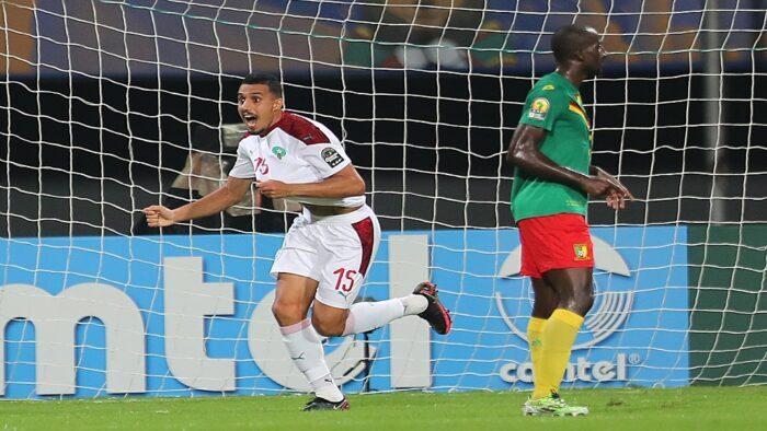 La joie du défenseur marocain Soufiane Bouftini après l'ouverture du score face au Cameroun.