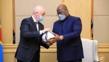 Le président de la FIFA Infantino et le président de la RDCFélix Tshisekedi