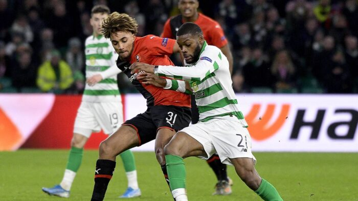 ©PHOTOPQR/OUEST FRANCE/Marc Ollivier ; Glasgow ; 28/11/2019 ; Sacha BOEY contre Olivier Ntcham  Match UEFA Europa League entre Celtic Glasgow (Celtic Football Club) et le Stade Rennais FC (SRFC) (MaxPPP TagID: maxsportsworldtwo806740.jpg) [Photo via MaxPPP]