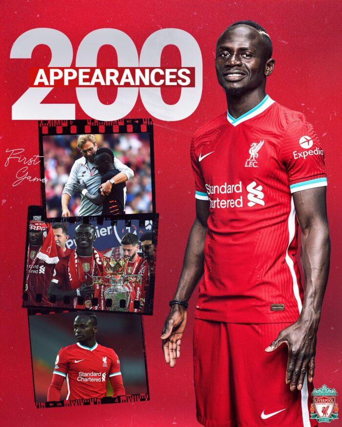 Sadio Mané compte désormais 200 matchs avec Liverpool
