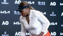 Serena Williams en larmes après sa défaite en demi-finale de l'Open d'Australie.