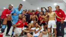 La joie du Wydad AC dans les vestiaires après leur succès dans le derby contre le Raja AC.