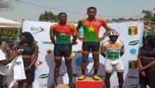 Le podium de l'arrivée de la second étape du Tour cycliste du Mali