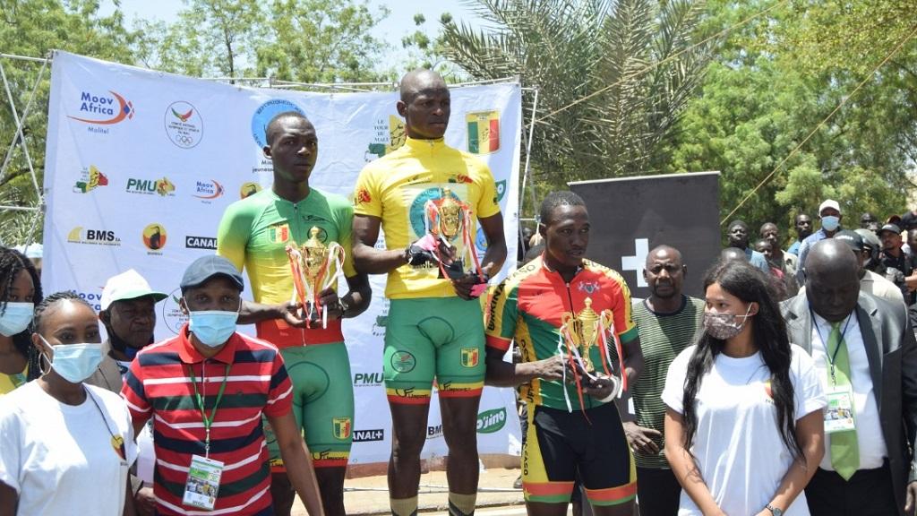 Le podium du classement général individuel du 9e Tour du Mali.