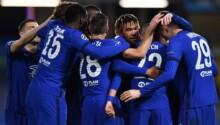 Les joueurs de Chelsea célèbrent l'ouverture du score de Hakim Ziyech.