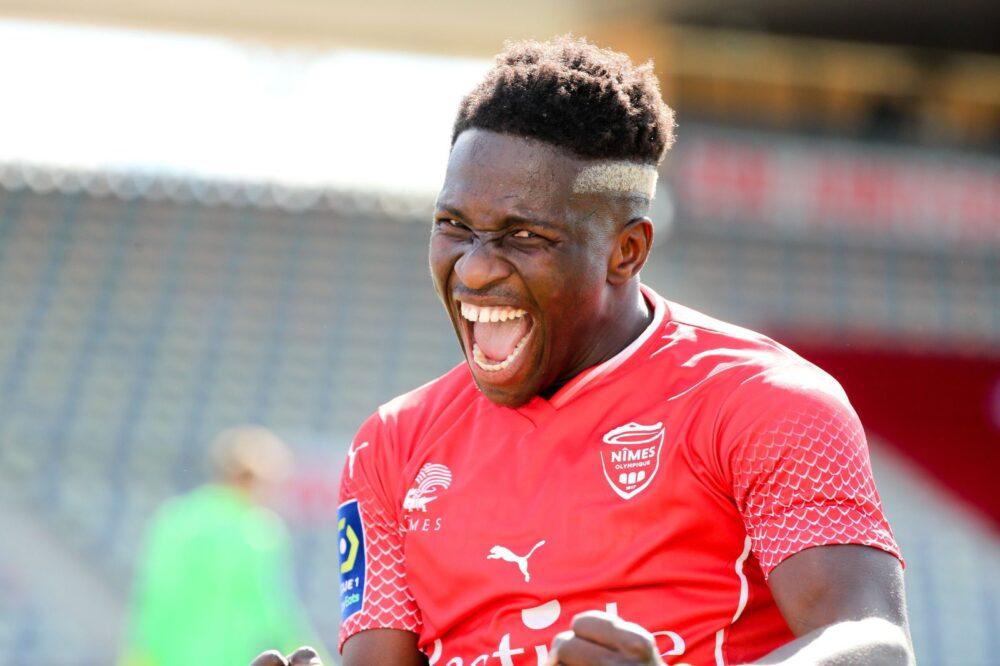 Moussa Koné, fou de joie, après son but dans le derby gardois