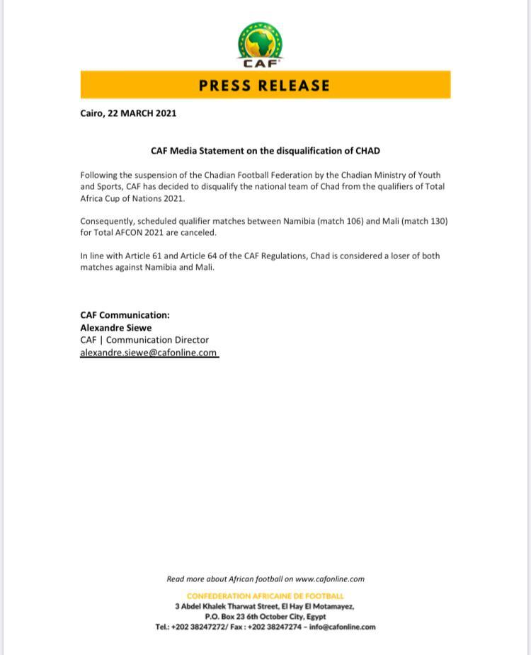 The Confederation of African Football (CAF) has disqualified the Chad national team from continuing in the 2021 Africa Cup of Nations qualifications
