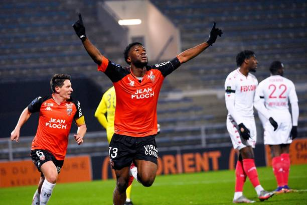Lorient's Nigerian forward Terem Moffi celebrates after a goal during the French L1 football match between FC Lorient and AS Monaco at the Stade Yves Allainmat in Lorient, western France, on January 6, 2021. (Photo by LOIC VENANCE / AFP) (Photo by LOIC VENANCE/AFP via Getty Images)
