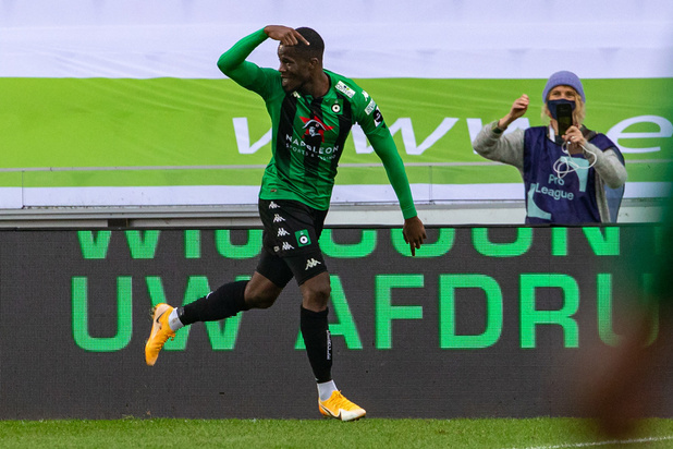 Cercle's Iké UGBO celebrates after scoring during a soccer match between Cercle Brugge and KAA Gent, Saturday 17 October 2020 in Brugge, on day 9 of the 'Jupiler Pro League' first division of the Belgian championship. BELGA PHOTO KURT DESPLENTER