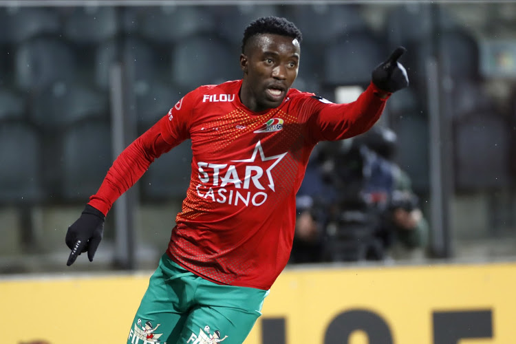 OSTENDE, BELGIUM - JANUARY 28 :  Fashion Junior Sakala midfielder of KV Oostende celebrates after scoring during the Jupiler Pro League match between Kv Oostende and Standard de Liege on January 28, 2021 in Ostende, Belgium, 28/01/2021 ( Photo by Jimmy Bolcina / Photo News