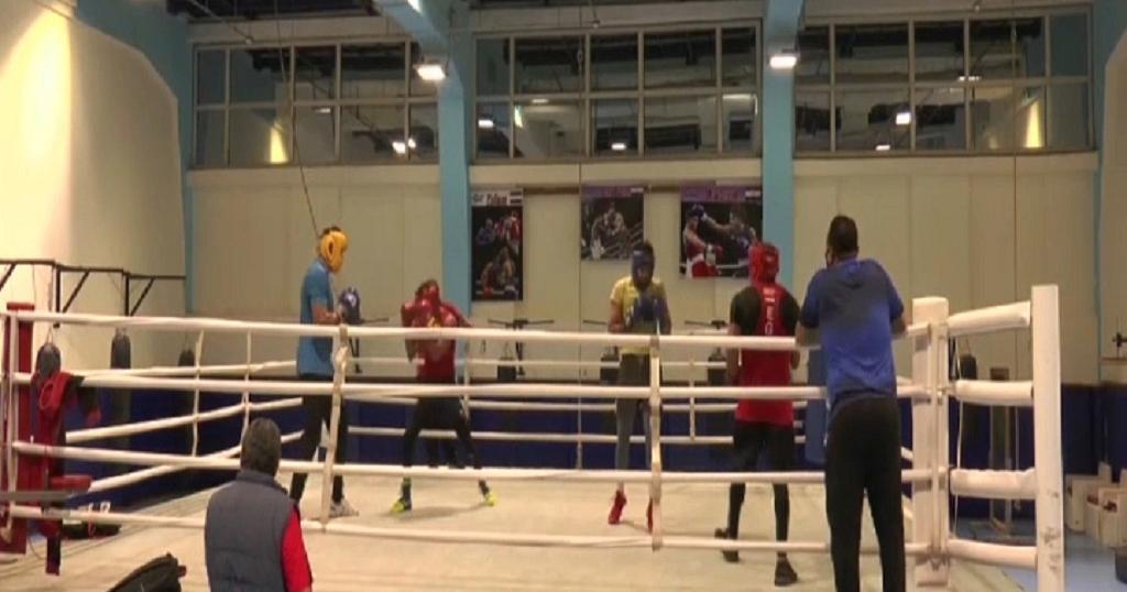 Les boxeurs égyptiens à l'entraînement.