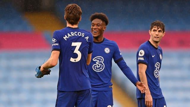 Les joueurs de Chelsea après leur victoire contre City.