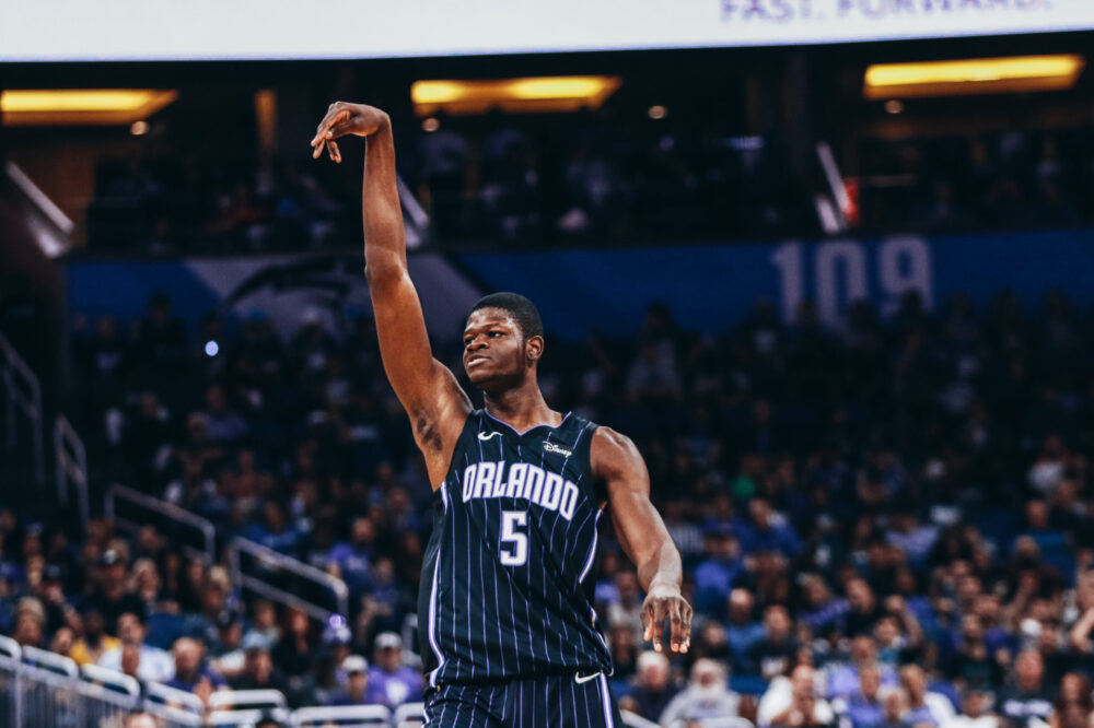 ORLANDO, FLORIDA - OCTOBER 23: Mo Bamba #5 of the Orlando Magic attempts to put up a basket against the Cleveland Cavaliers in the 2nd quarter at Amway Center on October 23, 2019 in Orlando, Florida. NOTE TO USER: User expressly acknowledges and agrees that, by downloading and/or using this photograph, user is consenting to the terms and conditions of the Getty Images License Agreement. (Photo by Harry Aaron/Getty Images)