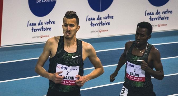 El Bakkali (premier plan) a accroché le podium au meeting de Doha.