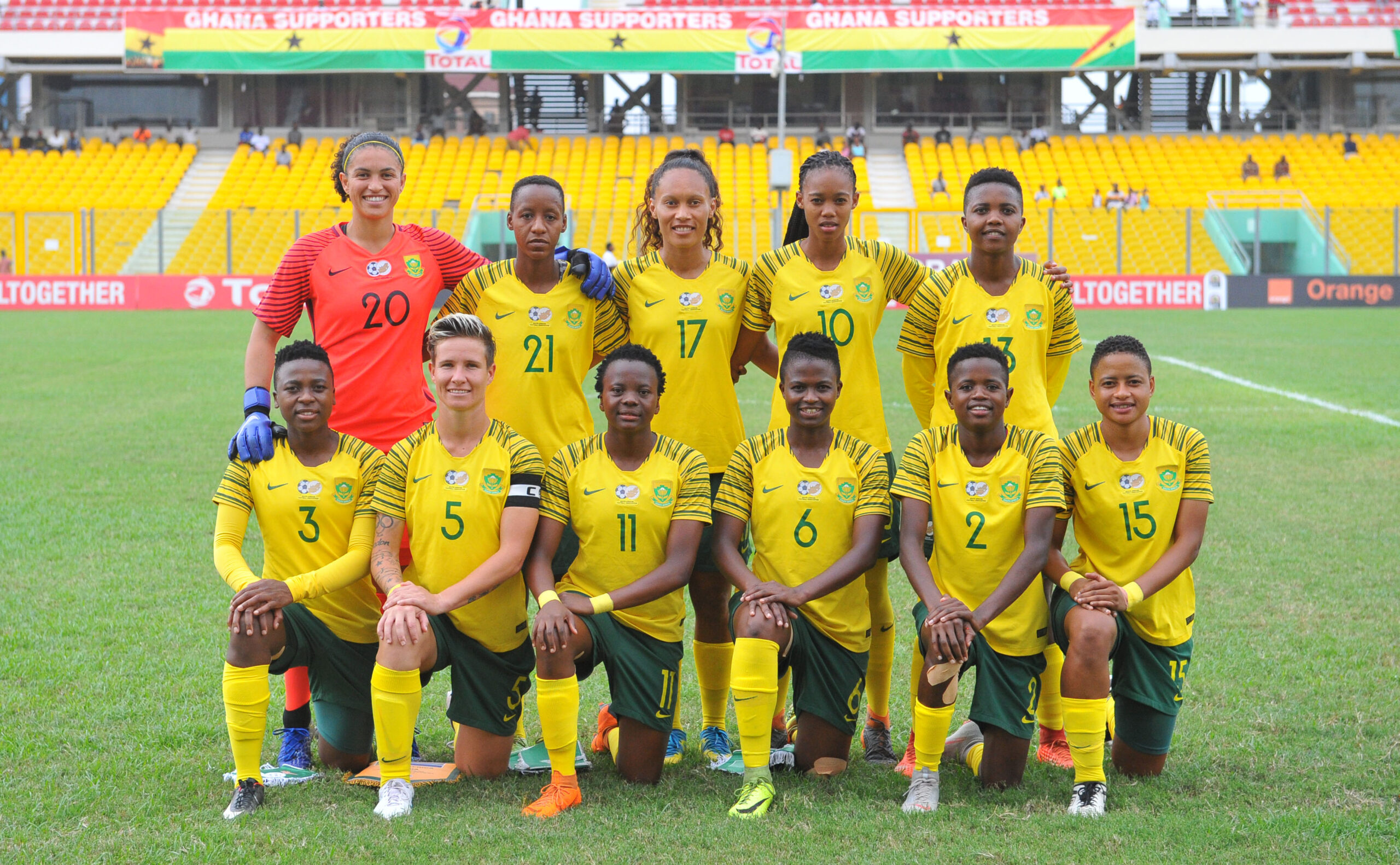 South Africa Woman Team picture during the 2018 TOTAL African Womens Cup of Nations match between South Africa and Zambia  on the 24 November 2018 at  Accra Sports Stadium, Ghana   / Pic Sydney Mahlangu/BackpagePix