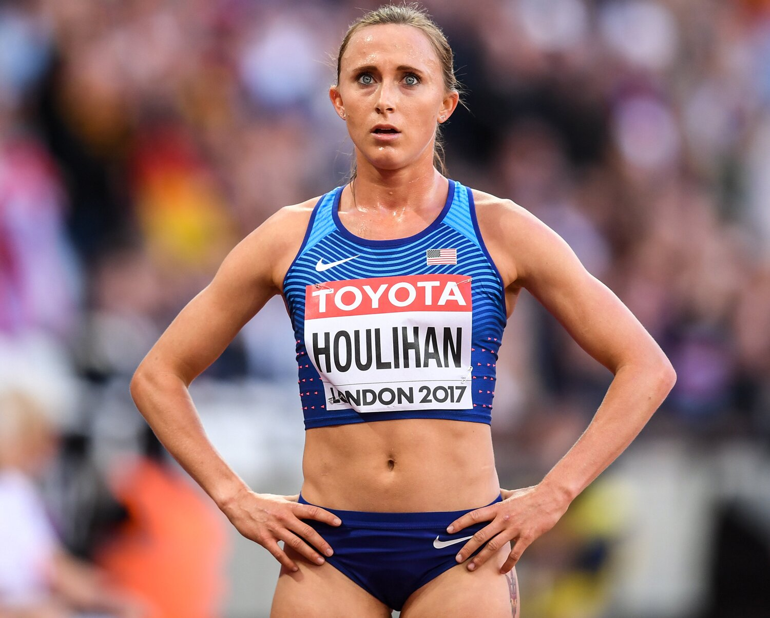 London , United Kingdom - 10 August 2017; Shelby Houlihan of the USA following round one of the Women's 5000m event during day seven of the 16th IAAF World Athletics Championships at the London Stadium in London, England. (Photo By Stephen McCarthy/Sportsfile via Getty Images)