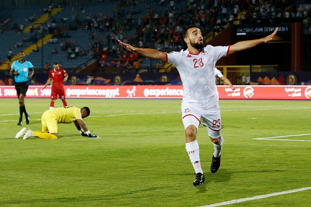 Naim Sliti exulte après son but lors de Tunisie-RDC en amical.