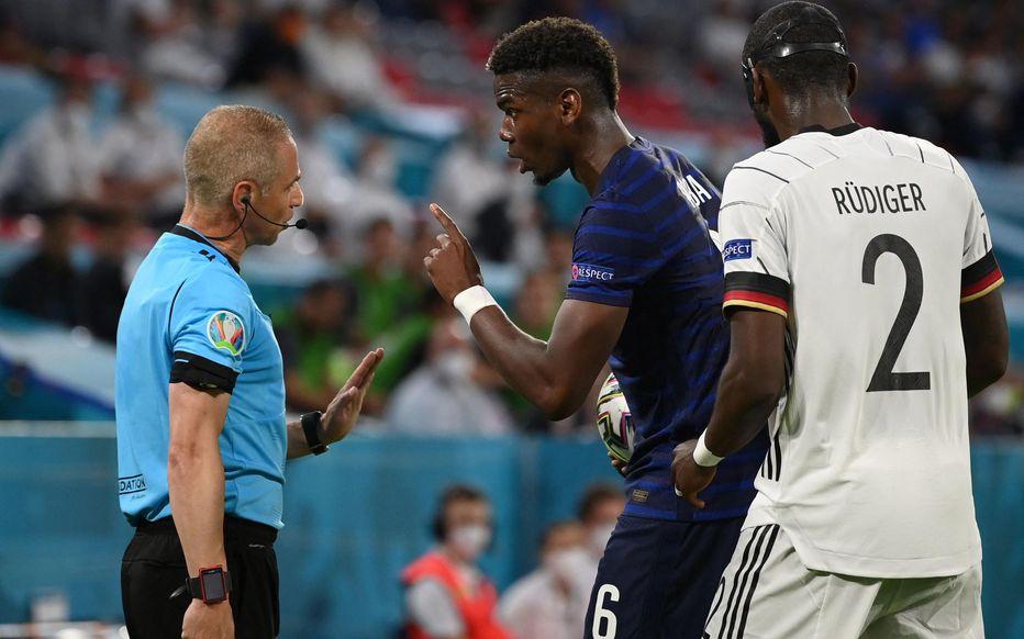 Paul Pogba se plaint après la morsure d'Antonio Rudiger AFP