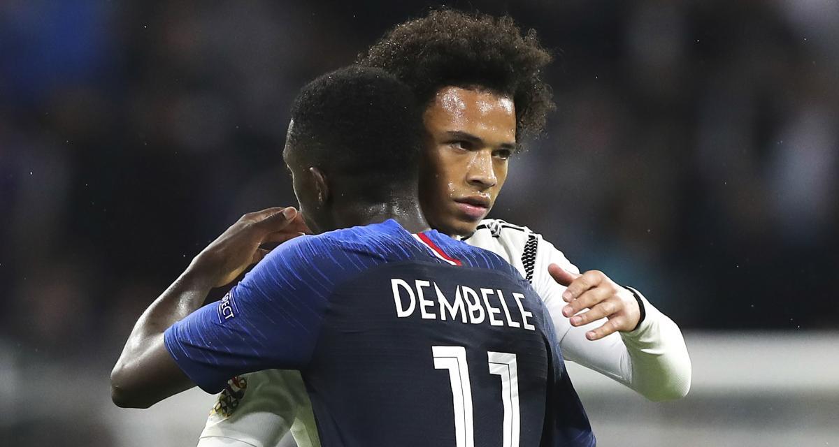 Ousmane Dembélé (11) et Leroy Sané lors d'un France-Allemagne. Les deux joueurs auraient pu faire équipe sous le maillot du Sénégal.