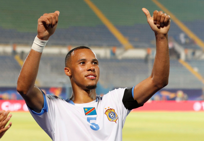 DR Congo's Marcel Tisserand celebrates after the match