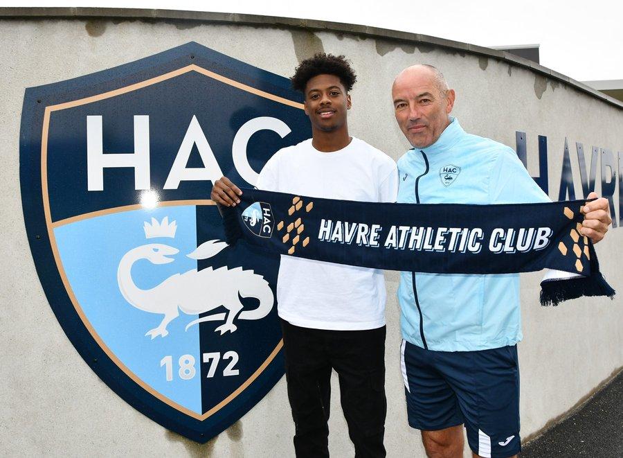Thierno Baldé avec Le Guen, coach du Havre