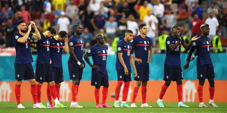 Les Bleus lors de la séance des tirs au but, perdue contre la Suisse en quart de finale.