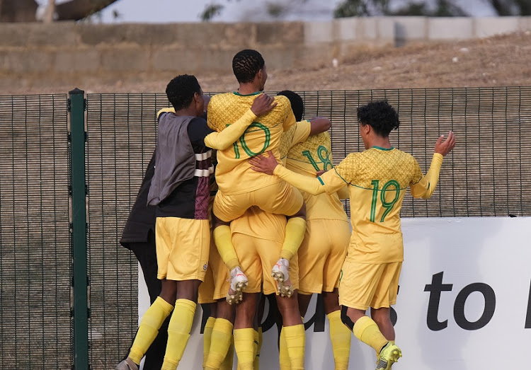 GQEBERHA, SOUTH AFRICA - JULY 08:  South Africa celebrate a goal during the COSAFA Cup South Africa 2021 match between South Africa and Eswatini at Isaac Wolfson Stadium on July 08, 2021 in Gqeberha, South Africa. (Photo by Michael Sheehan/Gallo Images)