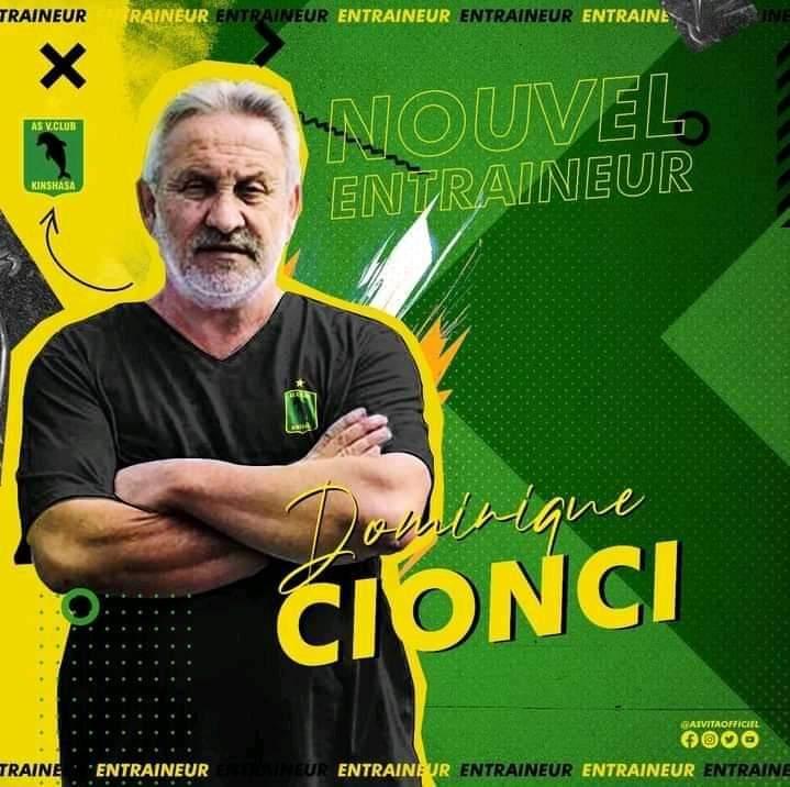 Dominique Cionci, le nouveau coach de l'AS Vita Club.