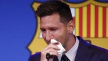 Lionel Messi en larmes, au moment de faire ses adieux au Barça.