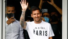 Lionel Messi à son arrivée à Paris.