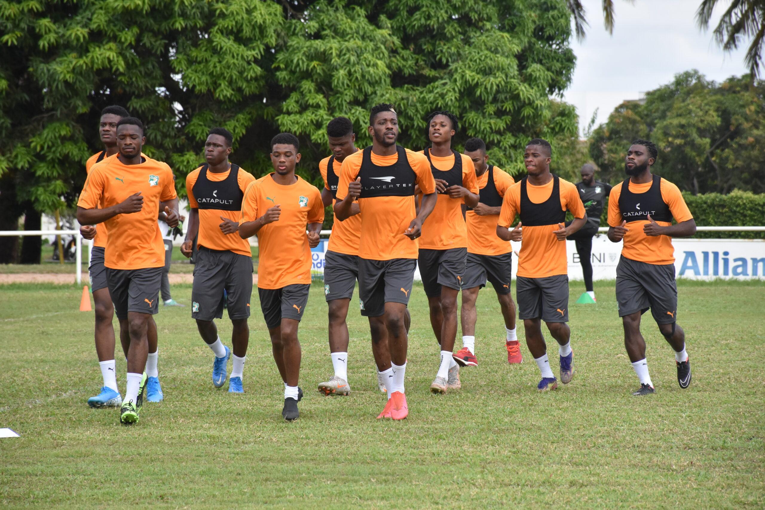 Les Eléphants de Côte d'Ivoire à l'entraînement.