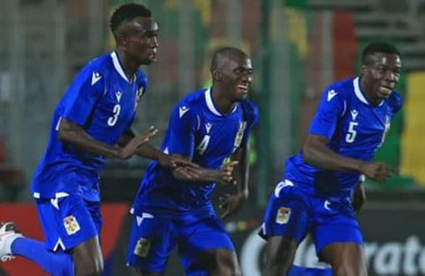 La joie des Centrafricains après avoir inscrit le seul but de la victoire (1-0) face au Nigeria.