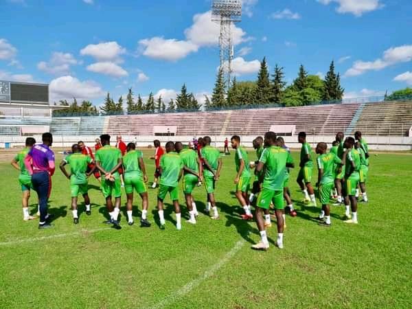 Les joueurs de la Mauritanie à l'entraînement.