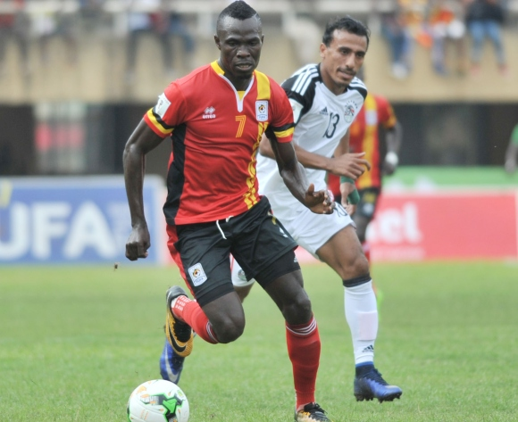 Abouzeid Mohamed of Egypt challenges Emmanuel Arnold Okwi of Uganda during the 2018 Fifa World Cup Qualifiers Russia on 31 August 2017 at Mandela Stadium, Namboole, Kampala. ©Ismail Kezaala/BackpagePix
